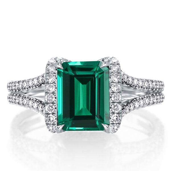 Split Shank Green Emerald Cut Engagement Ring, White