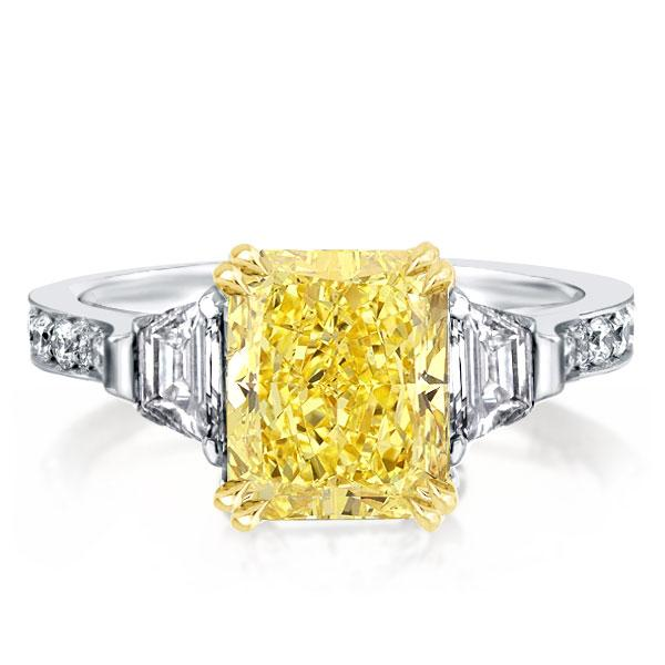 Three Stone Double Prong Yellow Radiant Engagement Ring, White