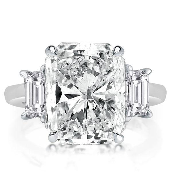 Three Stone Radiant Cut Engagement Ring, White