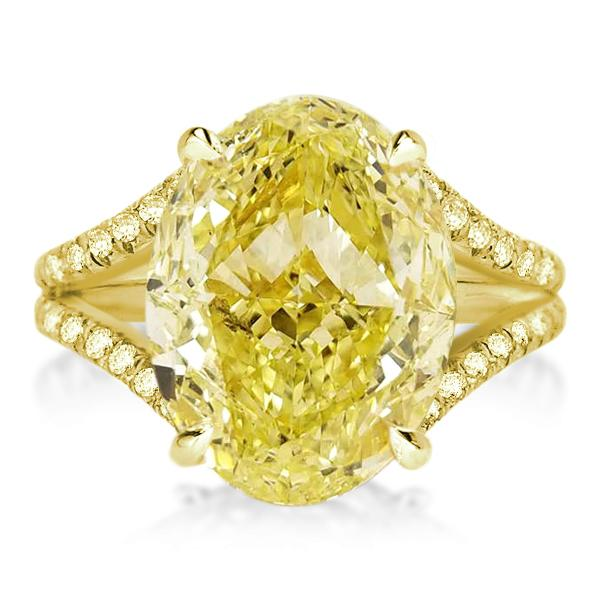 Split Shank Yellow Oval Cut Golden Engagement Ring, White