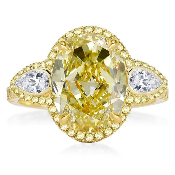 Halo Golden Three Stone Oval Cut Yellow Engagement Ring, White