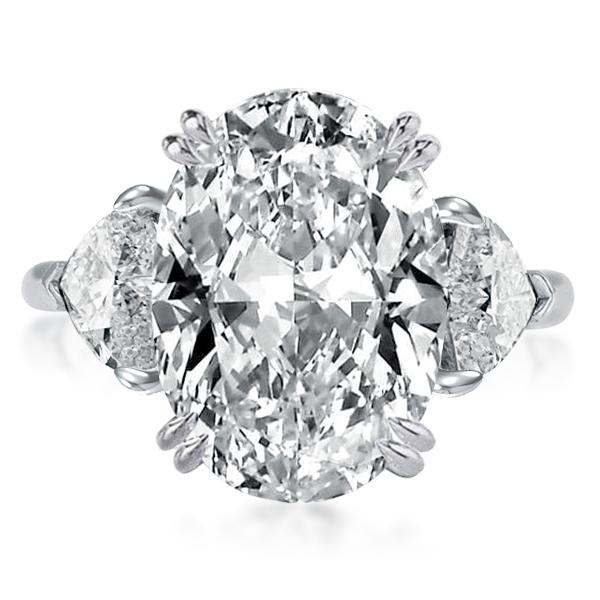 Three Stone Double Prong Oval Cut Engagement Ring, White
