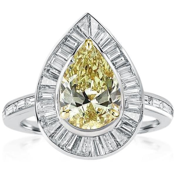 Two Tone Halo Pear Cut Engagement Ring, White
