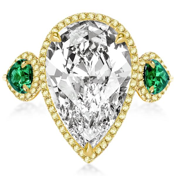 Golden Halo Three Stone Pear Engagement Ring, White