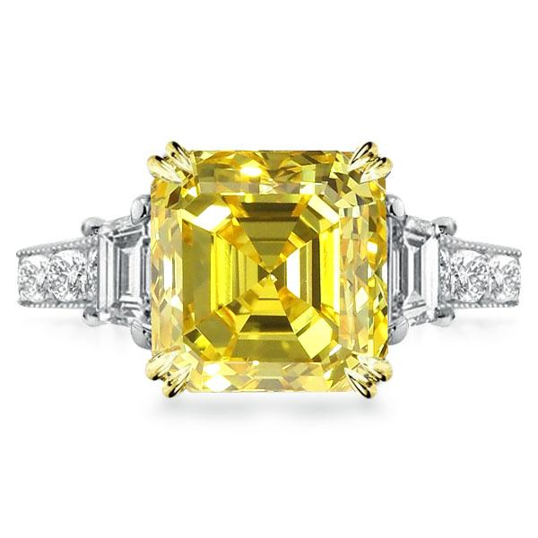 Three Stone Double Prong Milgrain Asscher Yellow Engagement Ring, White