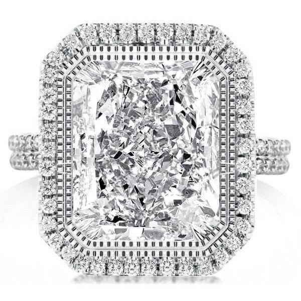Halo Split Shank Radiant Cut Engagement Ring, White