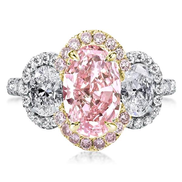 Two Tone Three Stone Halo Oval Pink Engagement Ring, White