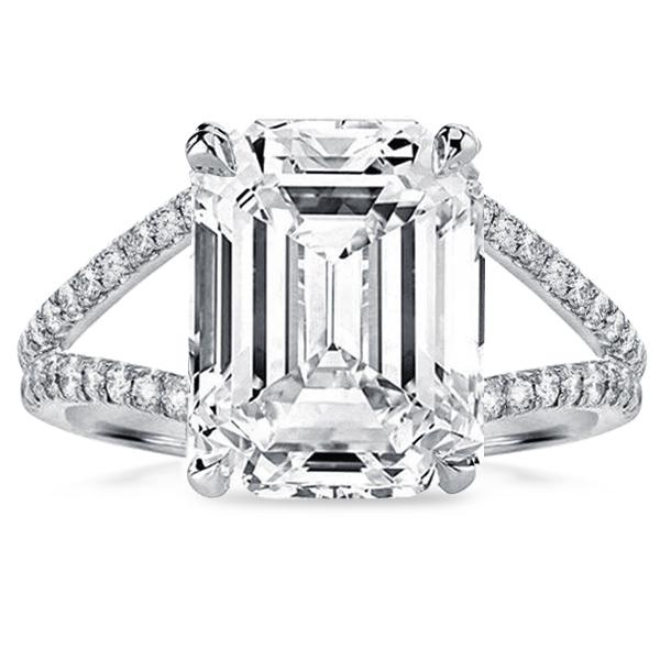 Classic Split Shank Emerald Cut Engagement Ring, White