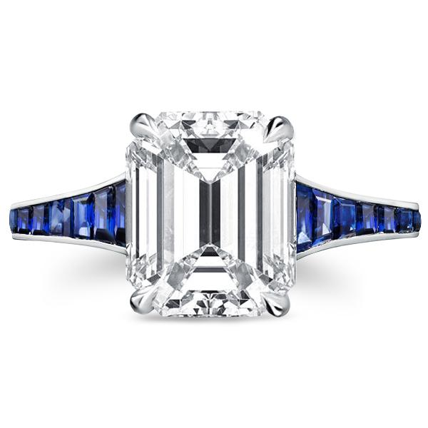 Classic Blue Emerald Cut Engagement Ring, White