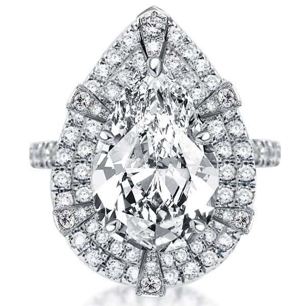 Double Halo Pear Cut Engagement Ring, White