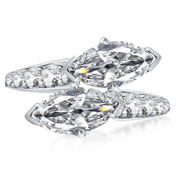 Art Deco Twin Marquise Engagement Ring, White