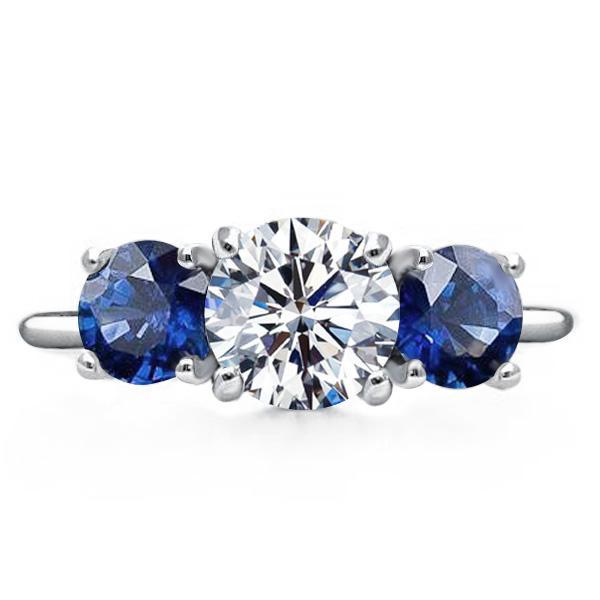 Three Stone Round Cut Engagement Ring
