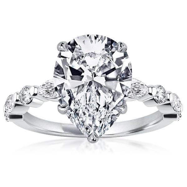Classic Pear Cut Engagement Ring, White