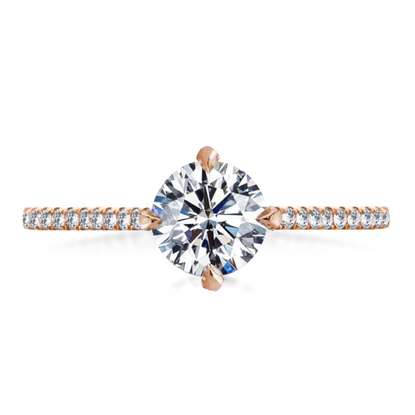 Rose Gold Round Cut 4 Prong Engagement Ring, White