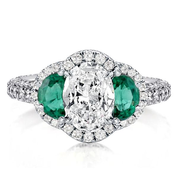 Three Stone Halo Oval Engagement Ring