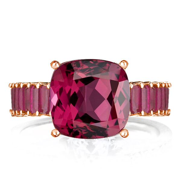 Rose Gold Cushion Cut Created Ruby Sapphire Engagement Ring, White