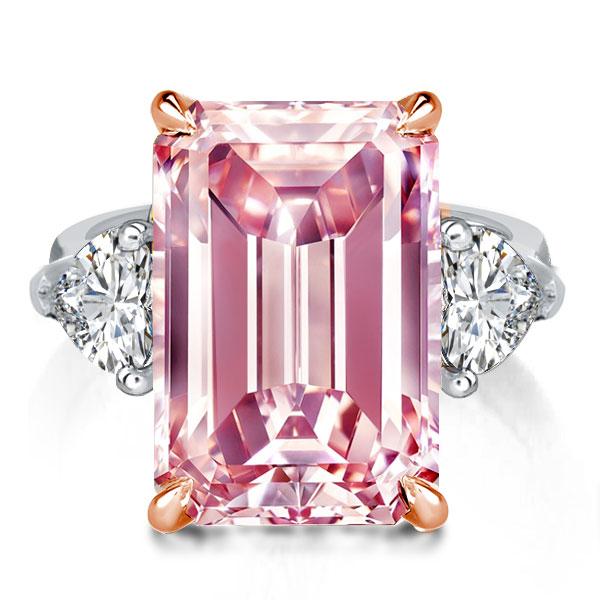 Three Stone Emerald Created Pink Sapphire Engagement Ring, White