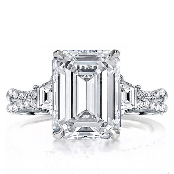 Three Stone Split Shank Emerald Cut Engagement Ring, White