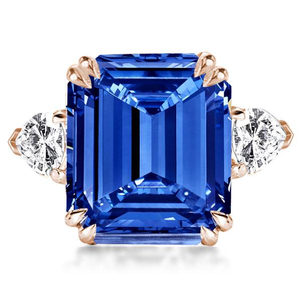 Three Stone Emerald Cut Created Sapphire Engagement Ring, White