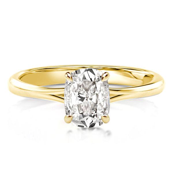 Golden Cushion Cut Hidden Halo Engagement Ring, White