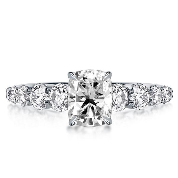 Classic Cushion Cut Created White Sapphire Engagement Ring