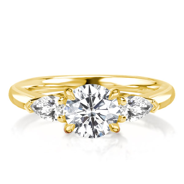 Three Stone Round & Pear Cut Golden Engagement Ring, White