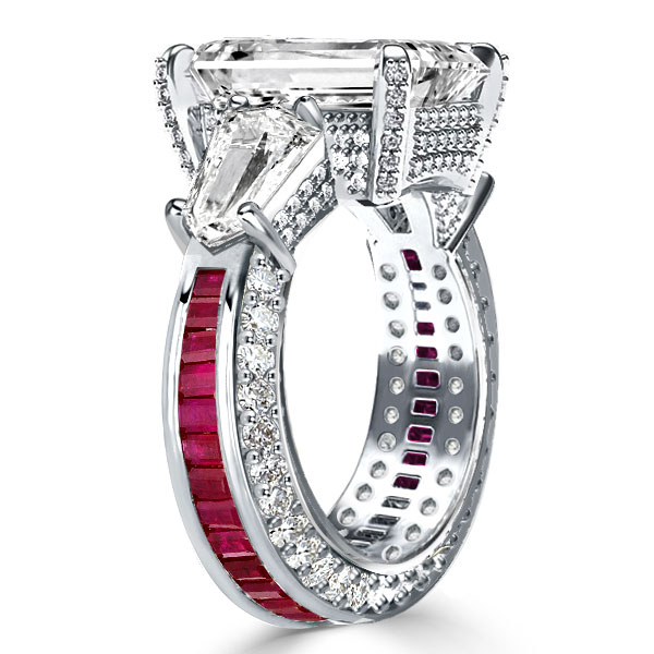 White Three Stone Emerald Cut Engagement Ring