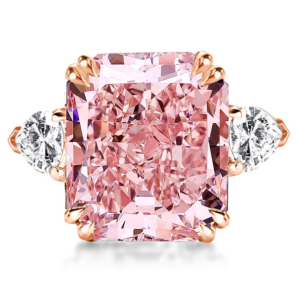 Double Prong Three Stone Pink Radiant Cut Engagement Ring, White
