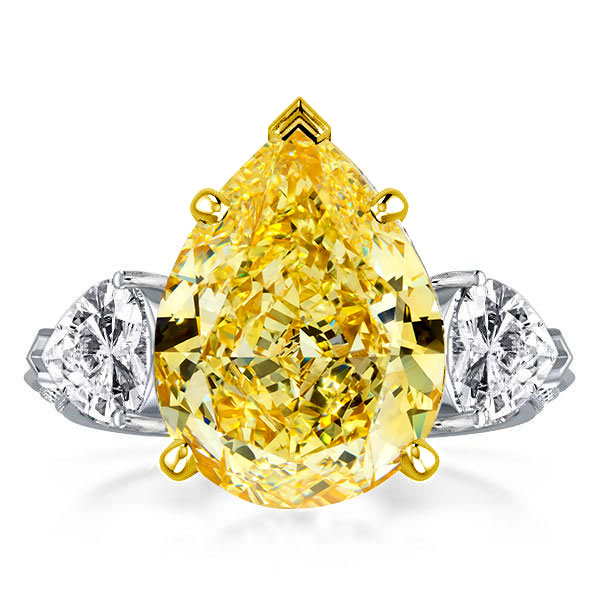 Two Tone Three Stone Pear Cut Engagement Ring, White