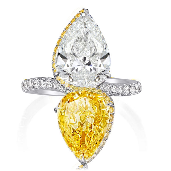 Yellow & White Pear Cut Engagement Ring