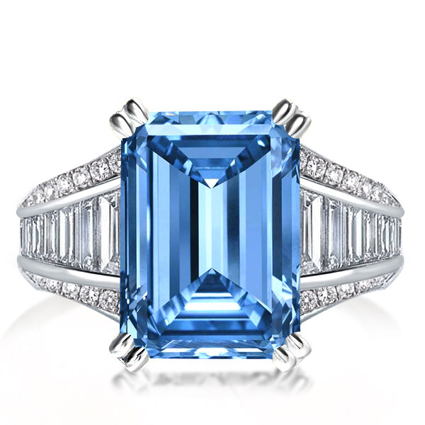 Double Prong Emerald Cut Engagement Ring, White