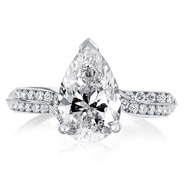 Pear Cut Engagement Ring, White