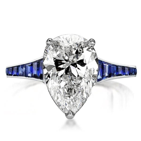Classic Blue Pear Cut Engagement Ring, White