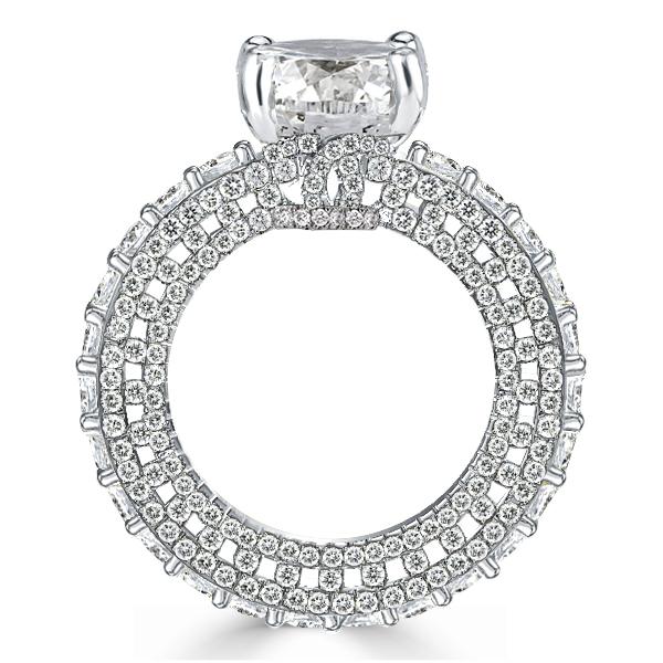 Eternity Cushion Cut Engagement Ring, White