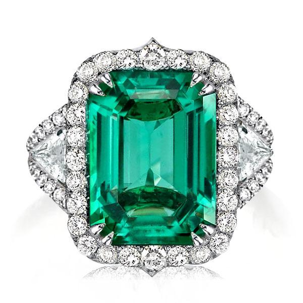 Halo Emerald Cut Engagement Ring, White