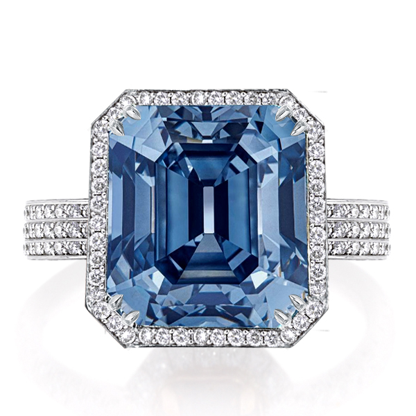 Double Prong Halo Emerald Cut Engagement Ring, White