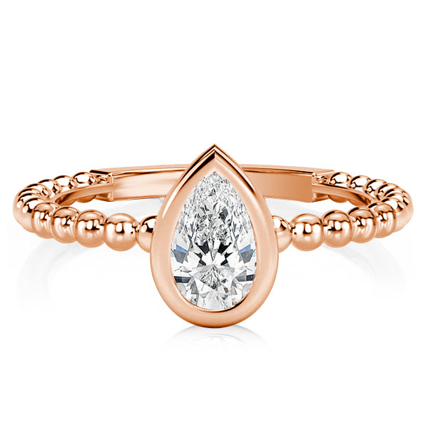 Rose Gold Pear Cut Engagement Ring, White