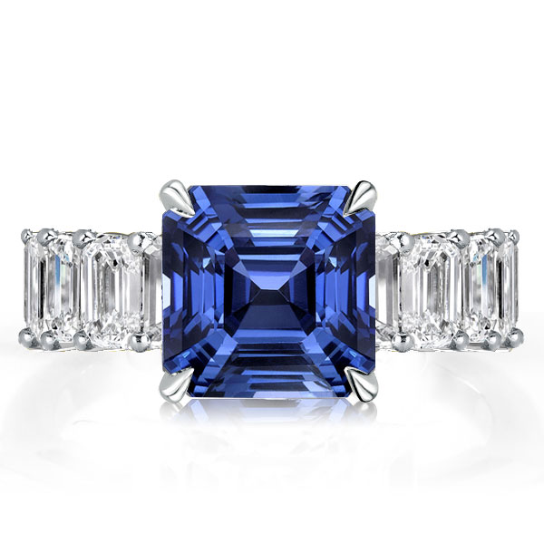 Asscher Cut Blue Engagement Ring, White