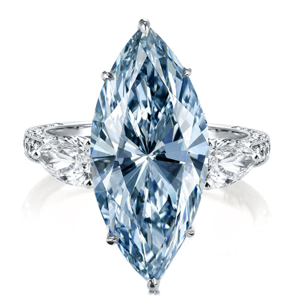 Three Stone Marquise Cut Blue Engagement Ring, White