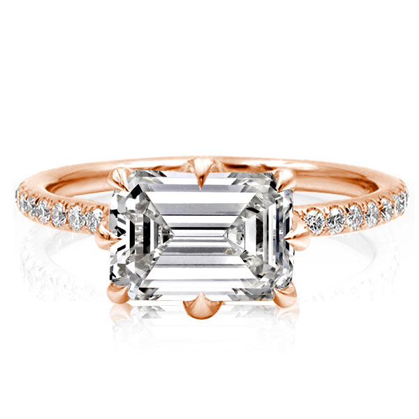 Rose Golden Emerald Cut Engagement Ring, White
