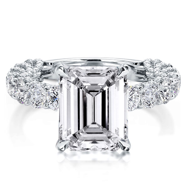 Emerald Cut Micropavé Engagement Ring, White