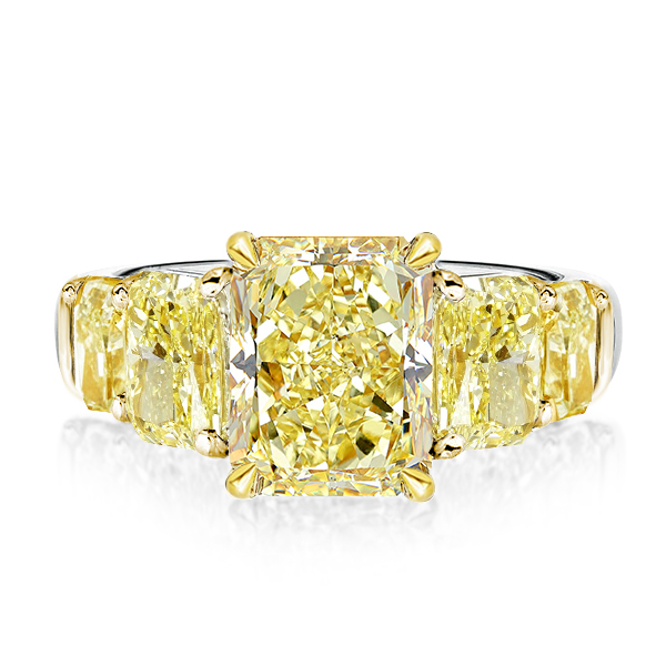 Five Stone Yellow Radiant Engagement Ring, White