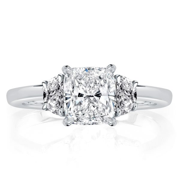 Three Stone Cushion Engagement Ring, White