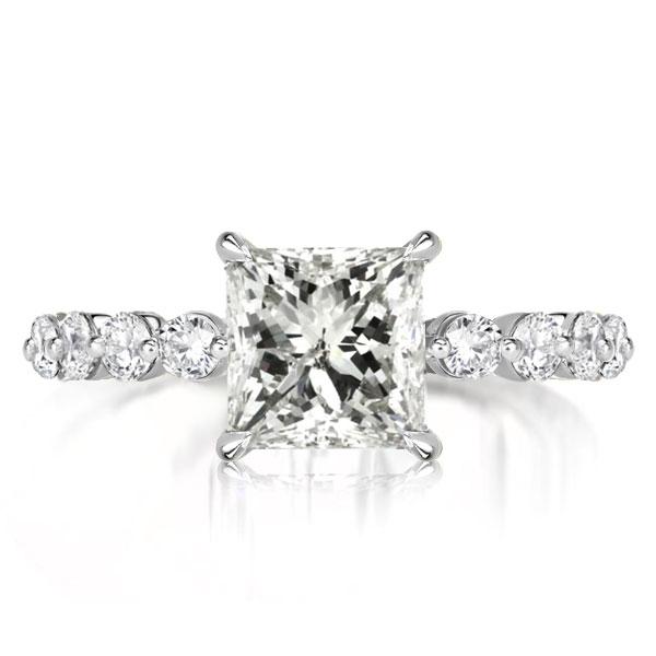 Half Eternity Princess Cut Engagement Ring, White