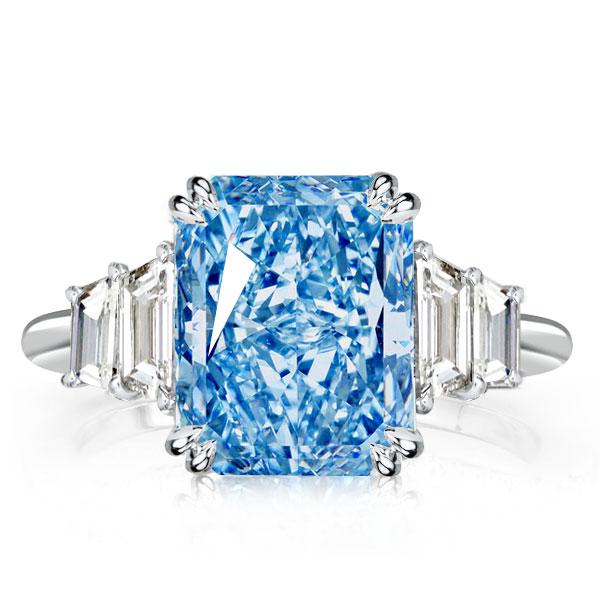 Double Prong Radiant Aquimarine Engagement Ring, White