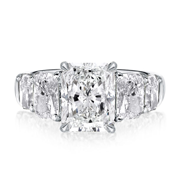 Five Stone Radiant Engagement Ring, White