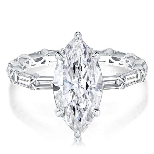 Unique Marquise Cut Engagement Ring, White