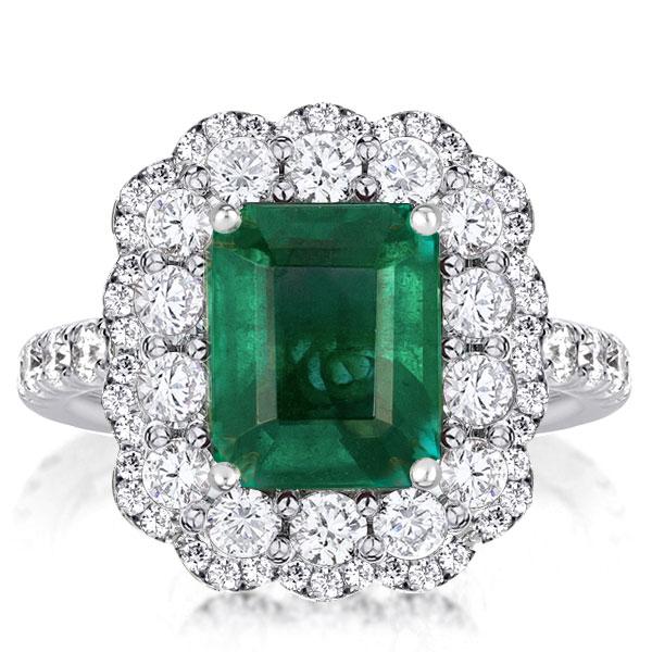 Vintage Halo Emerald Engagement Ring, White