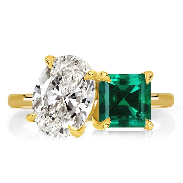 Oval & Asscher Cut golden Engagement Ring, White