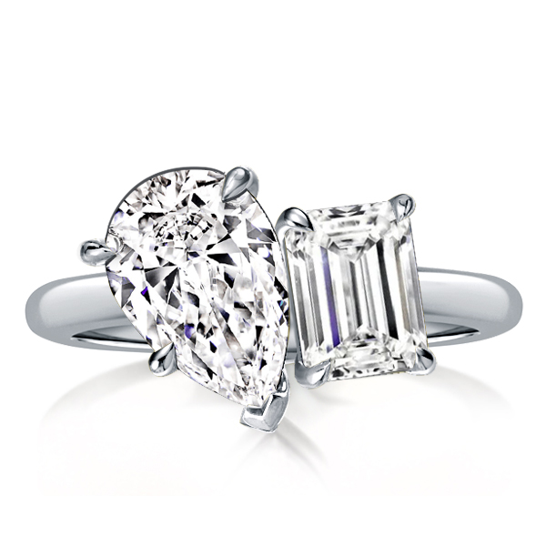 Pear & Emerald Cut Twin Engagement Ring, White